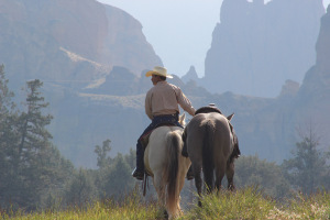 Brian Thomas training horse at Smith Rock State Park